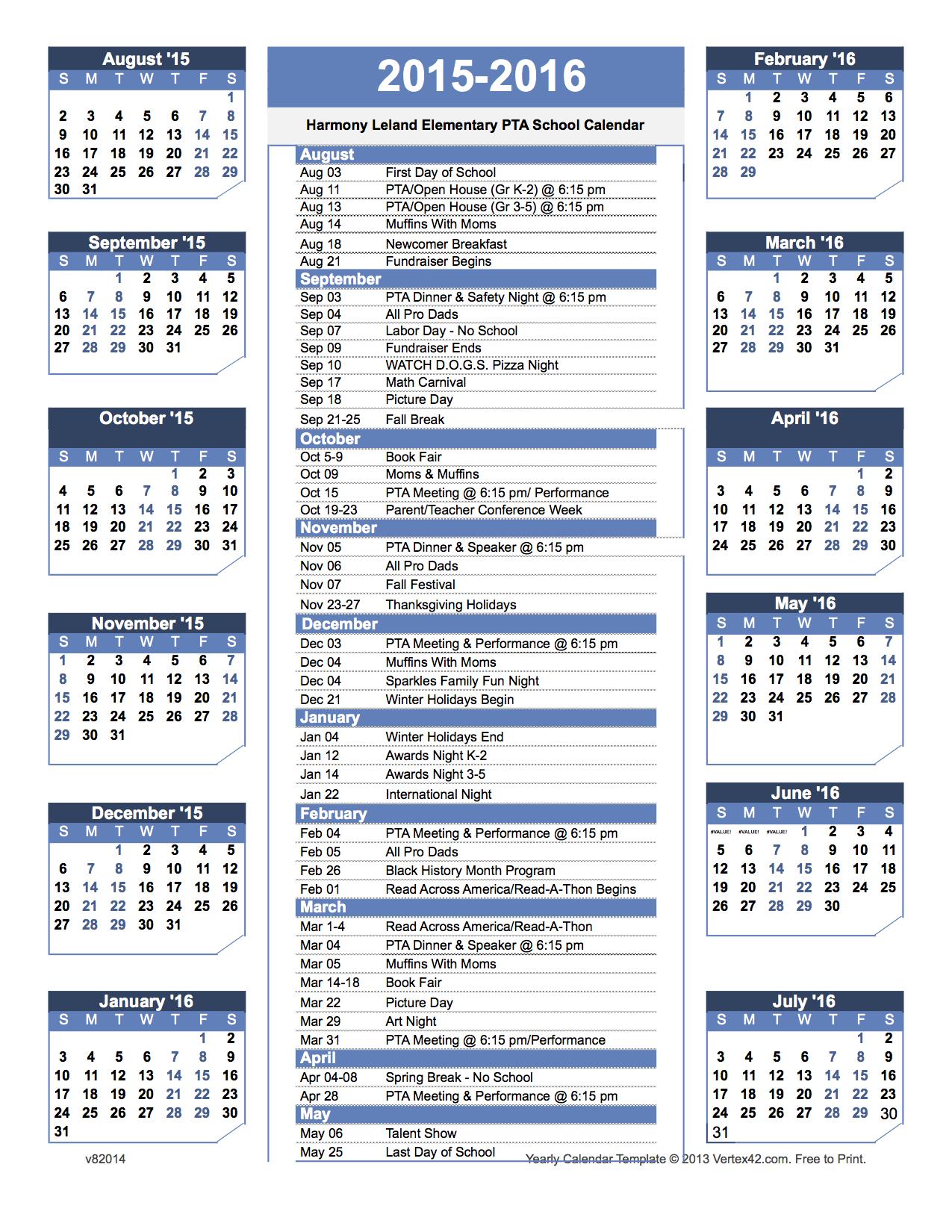 elementary school calendar template